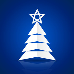 Paper Christmas tree on the blue background