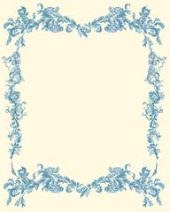 Decorative ornamental floral page blue color