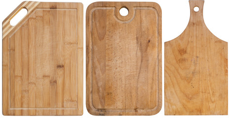 Set of cutting boards isolated on a white background