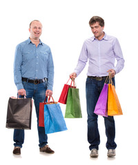 Two men with shopping bags