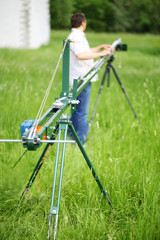 Using homemade crane for camera in shooting