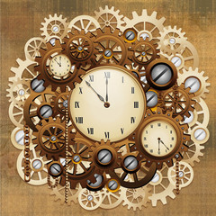 Steampunk Style Clocks and Gears-Orologio Antico Meccanismo