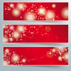 Three Christmas Banner Red Background