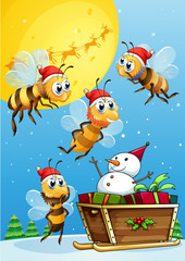 Bees watching the snowman riding on a sleigh