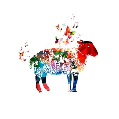 Colorful vector sheep with butterflies.