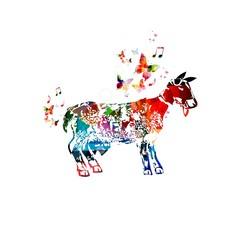 Colorful goat background with butterflies.