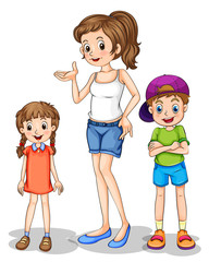 Wall Mural - A girl and her siblings