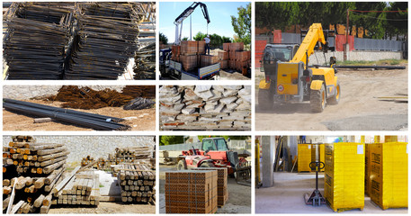 Storage building materials of a telescopic loader and forklift