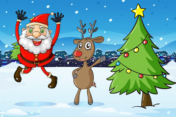 Santa and a deer beside the christmas tree
