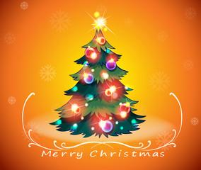 A christmas card design with a sparkling christmas tree