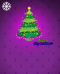 A violet christmas card with a christmas tree
