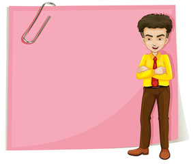 A man in front of a pink empty template with a paperclip