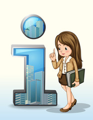 A business person beside the number one figure with buildings