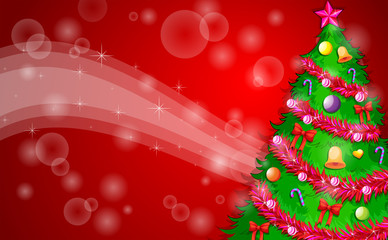 A red christmas design with a green christmas tree