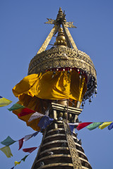 Top of buddhist stupa in Kathmandu, Nepal