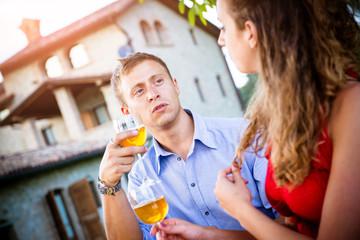 Aperitif Cocktail Toasting, Teenage Couple