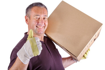 Man carrying moving box