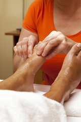 Professional relaxing foot massage, various techniques