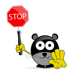 sweet and cute mouse with sign stop vector