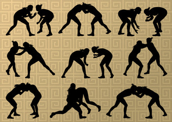 Greek roman wrestling active young women sport silhouettes vecto