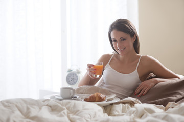 Having breakfast in the bed