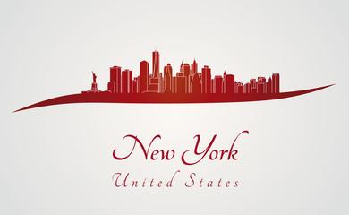 New York skyline in red