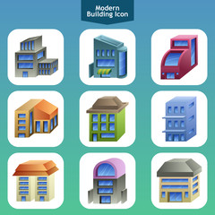 Modern building icons