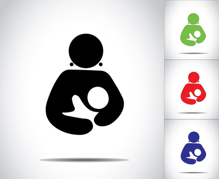 woman holding baby silhouette colorful icons concept design