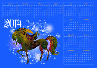 Calendar for 2014, the year of the horse_