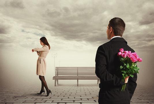 young beautiful woman waiting her man
