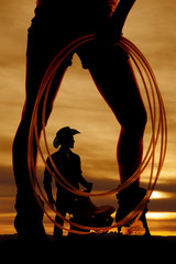 silhouette woman legs rope side