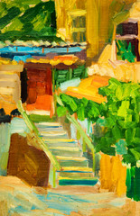 Oil painting on canvas. Old city patio