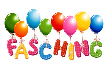 Colorful Carnival German Text with balloons