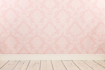 Vintage wall and wooden floor