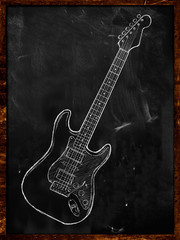 Electric Guitar drawing on blackboard