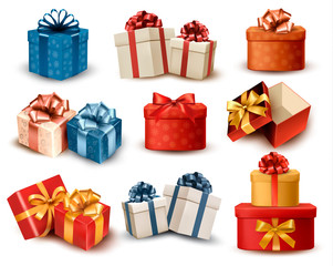 Set of colorful retro gift boxes with bows and ribbons. Vector i