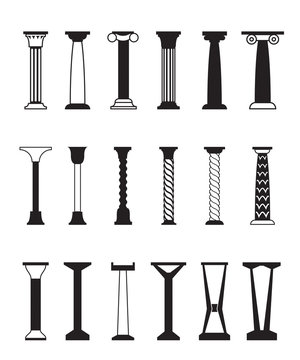 Different types of columns - vector illustration