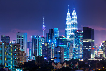 Foto op Canvas Kuala Lumpur Kuala Lumpur skyline at night