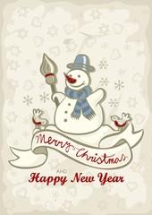 szczęśliwy bałwan świąteczna ilustracja z życzeniami