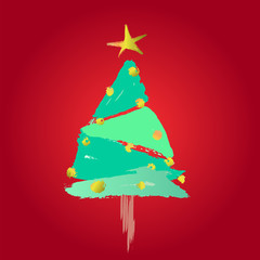 stylized christmas tree,  vector illustration