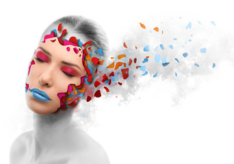 Beautiful woman changing skin, beauty concept