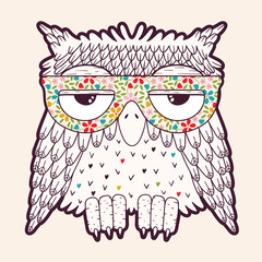 Wall Mural - Owl in glasses