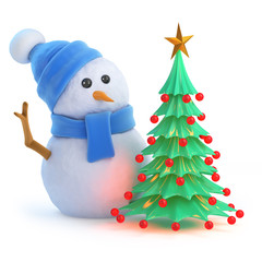 Blue snowman by the Christmas tree