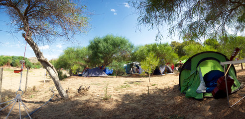 Panorama of a campsite in Sicily