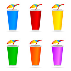 glass of juice with a straw color art vector