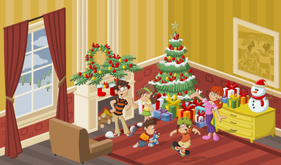 Happy cartoon family in the house on christmas night