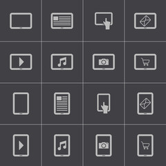 Vector black tablet icons set