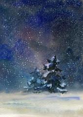 Night rural landscape at winter