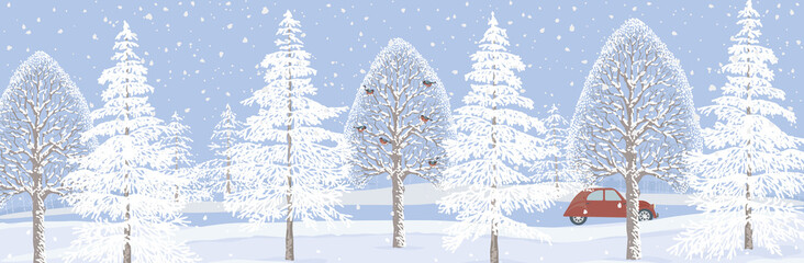 Background with winter landscape