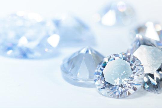 White diamonds on blue background